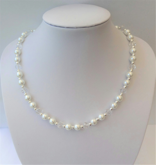 White glass pearl, clear rondelle crystal bead necklace.