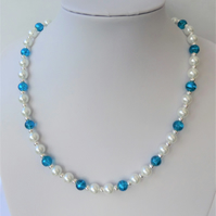 White pearl and blue & turquoise swirls glass bead necklace