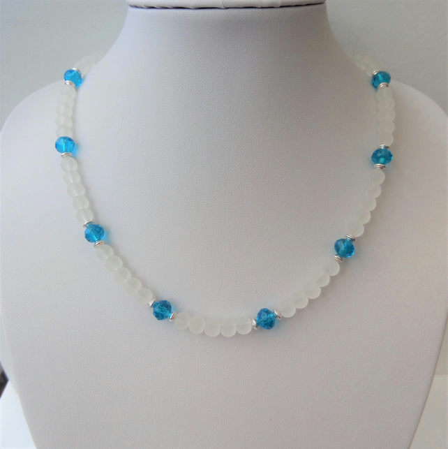 White clear frosted and blue rondelle crystal bead necklace