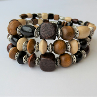 Mixed colour wood and Tibetan silver memory wire wrap bracelet