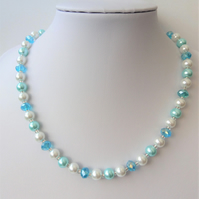 Light blue rondelle, light blue and white glass pearl bead necklace.