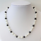 White glass pearl black rondelle crystal bead necklace