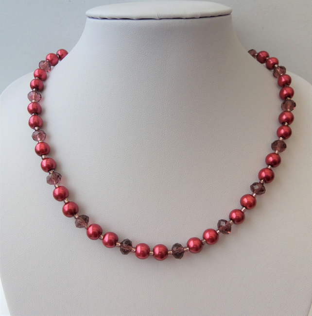 Burgundy glass pearl, wine rondelle crystal bead necklace.