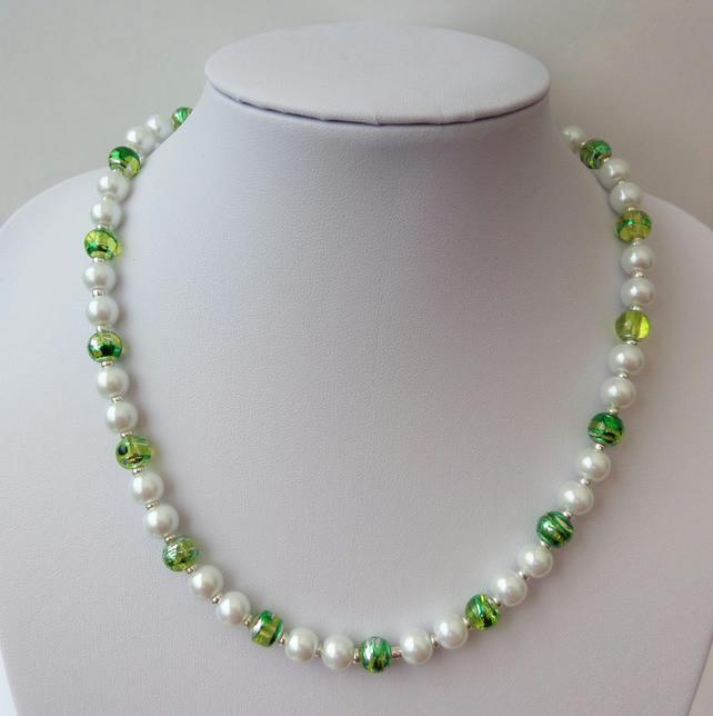 White glass pearl necklace with green and silver swirl glass beads