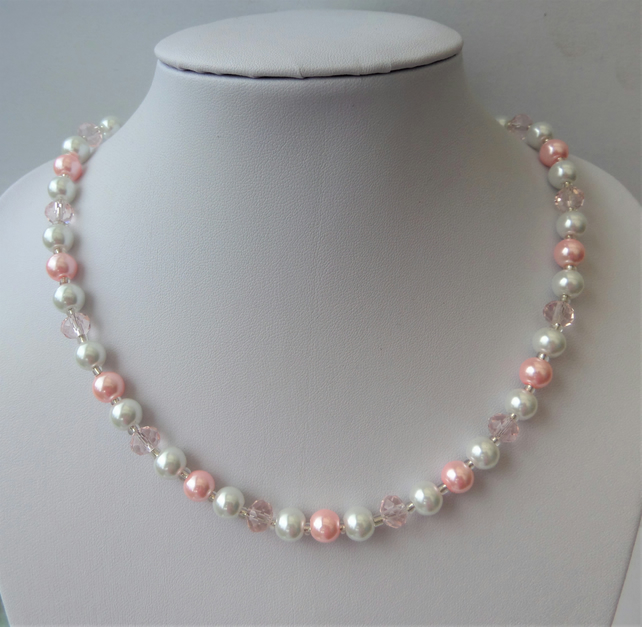 Pink rondelle, pink and white glass pearl bead necklace.