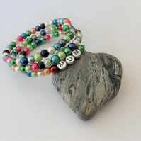 Multicoloured glass pearl memory wire wrap bracelet for mum