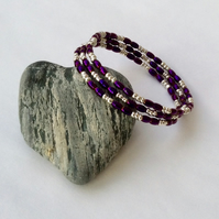 Metallic dark purple and silver coloured bead memory wire wrap bracelet
