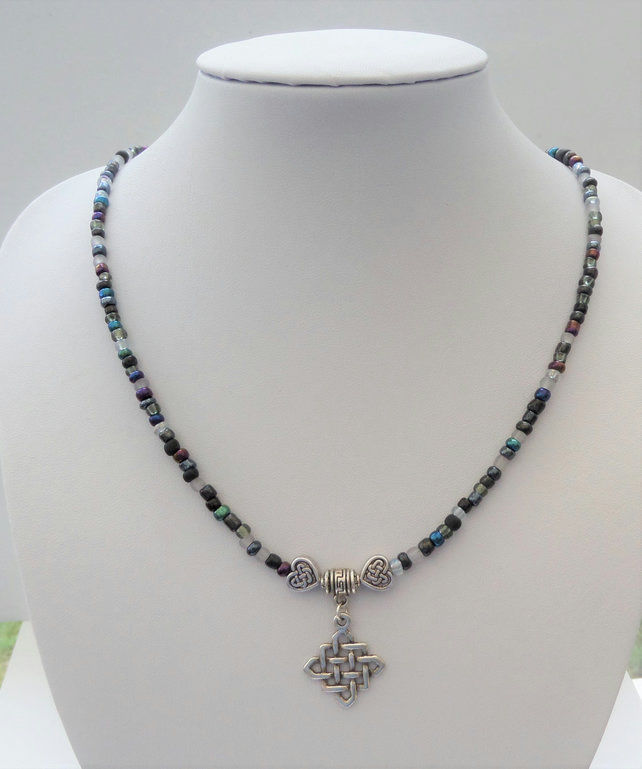 5e1ab06c8cf9c Black seed bead mix and Tibetan silver Celtic knot pendant necklace