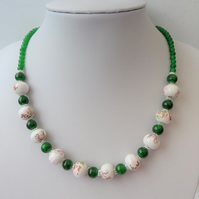 White, green & pink ceramic and green glass bead necklace