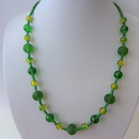 Green and yellow glass bead necklace