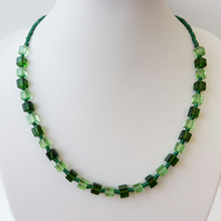 Two colour green cube and green seed bead necklace