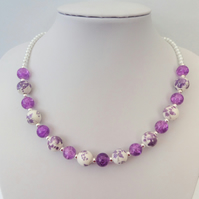 Purple and white glass bead and ceramic bead necklace