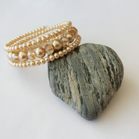 Pale gold glass pearl and champagne crystal beaded wrap bracelet