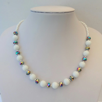 White glass bead and rainbow multicoloured bead necklace
