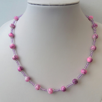 Pink and purple glass beaded necklace with lavender seed beads