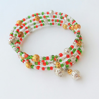 Multicoloured seed bead wrap bracelet, Christmas colours, green, red & white
