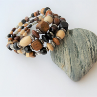 Wood and Tibetan silver memory wire wrap bracelet