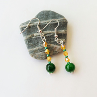Green glass bead and yellow crystal bead earrings