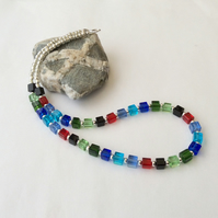 Multicoloured cube and silver bead necklace