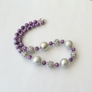 Sparkly silver and purple beaded necklace