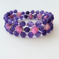 Purple and pink bead memory wire wrap bracelet.
