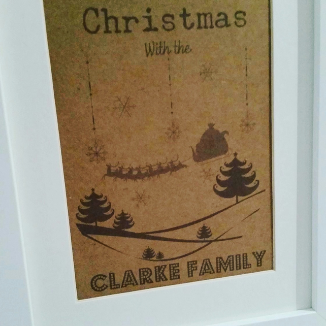 Personalised Santa and his Sleigh Framed Picture