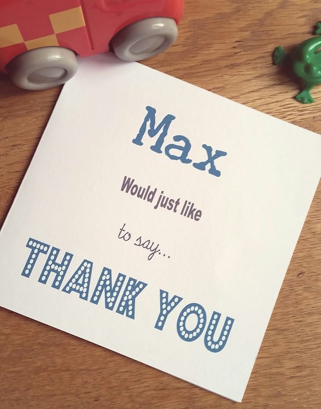 Pack of 5 Personalised Thank You Cards