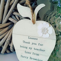 Thank You Teacher Personalised Apple