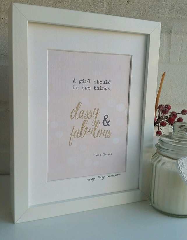 'A girl should be two things'  Coco Chanel Quote Framed Print
