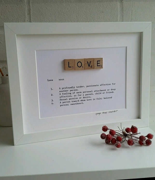 Framed Scrabble Art 'LOVE' definition