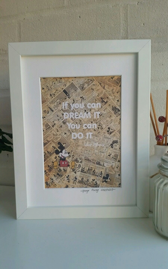 Disney inspired If you can dream it framed print with Mickey Mouse