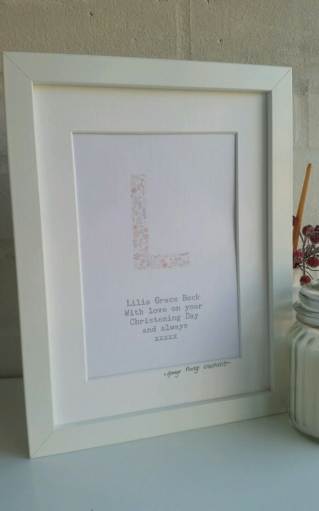New Baby, Baby Shower, Christening Personalised Floral Initial Framed Print