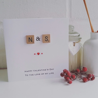 Scrabble Tile Personalised Valentines Card