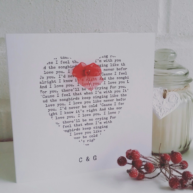 'Your Song' Personalised Valentines Card