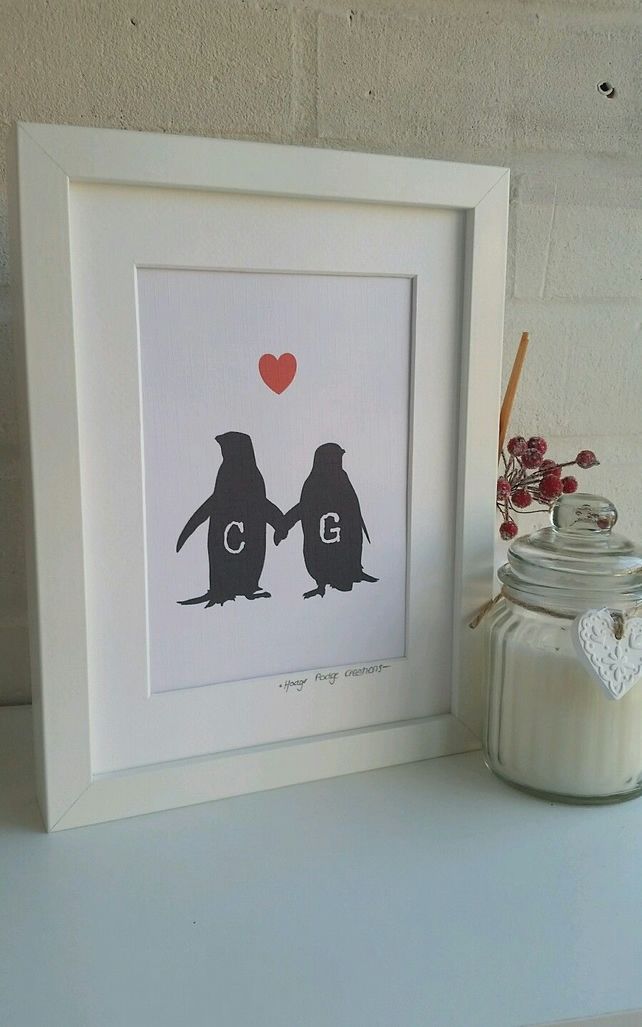 Personalised Penguins Love Framed Print