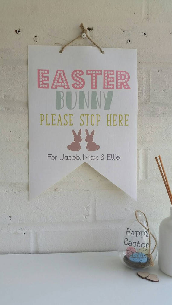 Easter Bunny Please Stop Here Canvas Flag