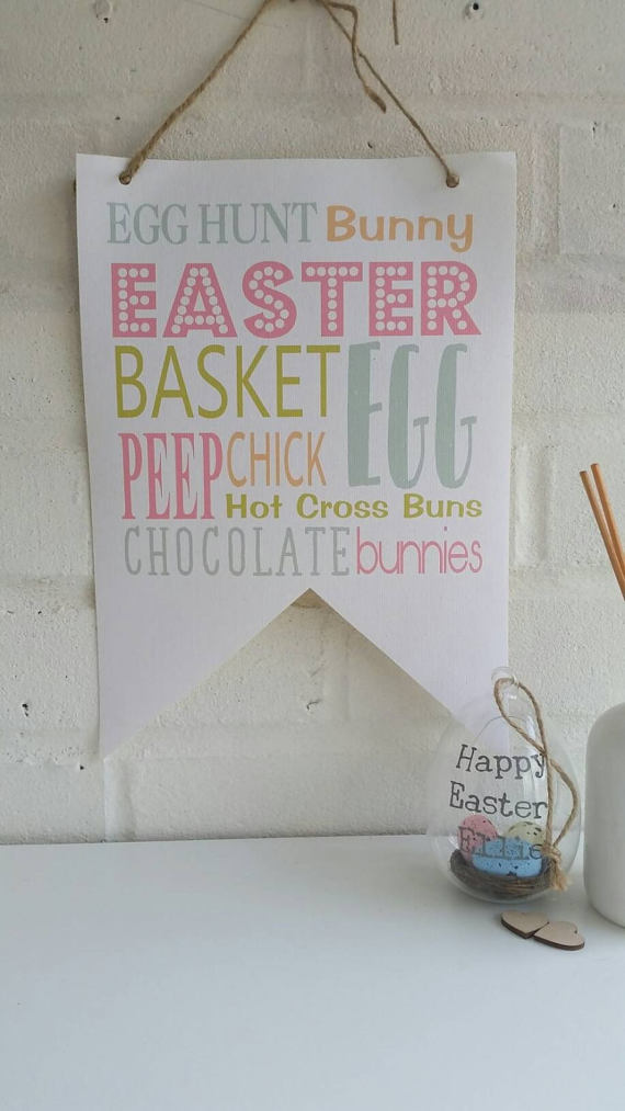 Easter Text Canvas Flag
