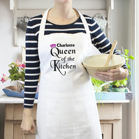 Personalised Ivory Kitchen Baker Aprons - Queen of the Kitchen