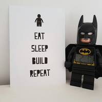 Lego Custom A4 Art Print Kids Decor Poster Typography Eat Sleep Build Repeat