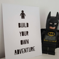 Lego Custom A4 Art Print Kids Decor Poster Typography Build Your Own Adventure