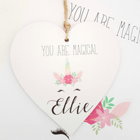 Personalised Unicorn Door Name Heart Shaped Plaque Girls Bedroom Room Sign.
