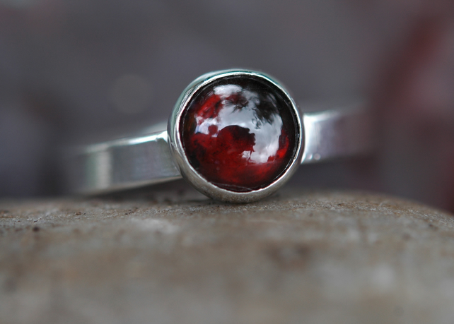 Sterling Silver Ring with Garnet, January birthstone, Size Q-R