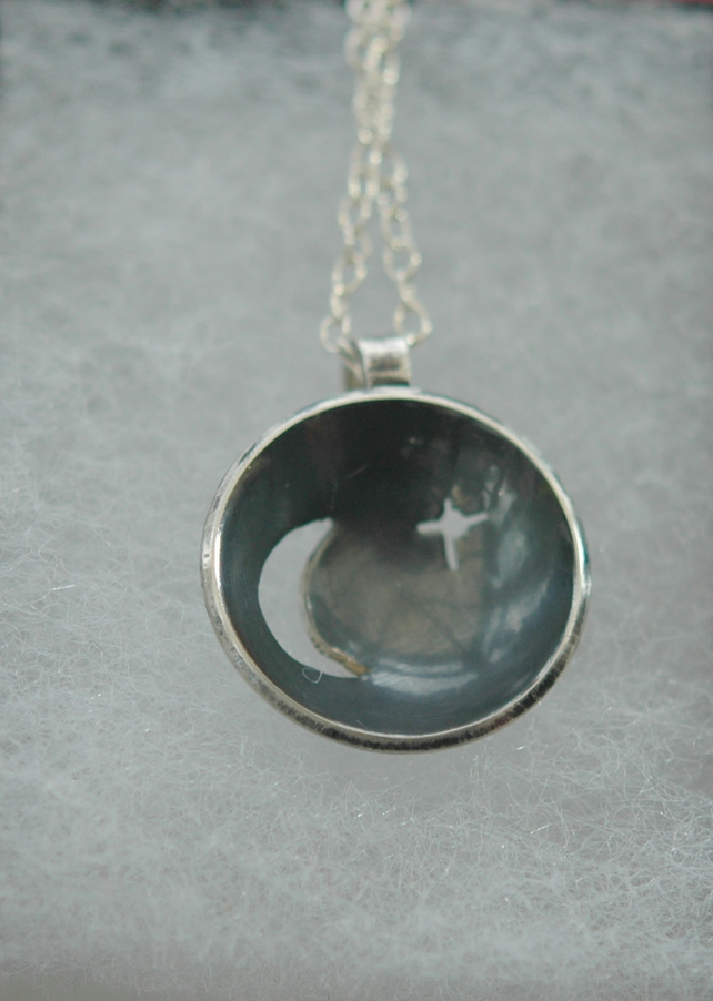 Moon and Star Domed Pendant in Sterling Silver, P83