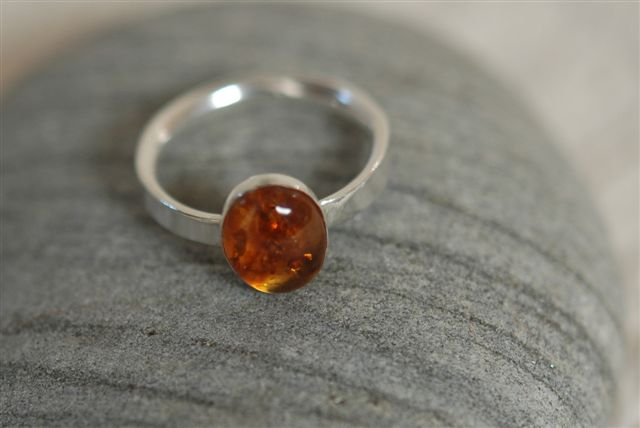 Silver Ring with Amber Gemstone,  size O