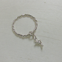 Sterling Silver Twist ring with Dolphin Charm,  size P,  R68