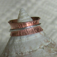 Hammered Copper Ring with Sterling  Silver Spinner,  size J,  R71B