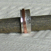 Sterling Silver Spinning Ring with Copper Spinner
