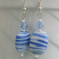 SALE! 40%off Blue and white beaded drop earrings, E58