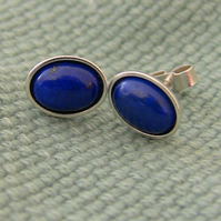 Sterling Silver and Lapis Lazuli Oval Stud Earrings,  E82
