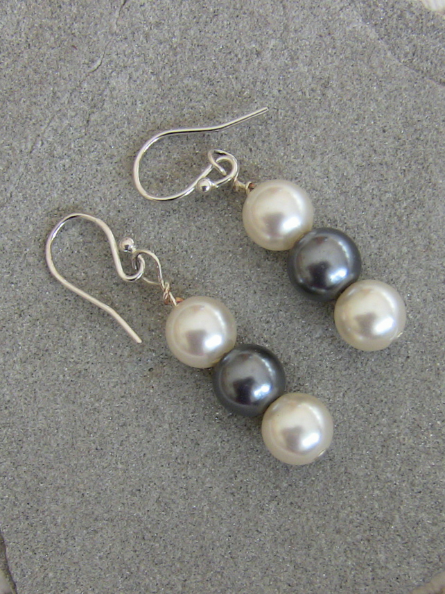 White and Grey Pearl Drop Earrings with Sterling Silver,  E19